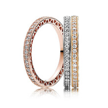 Rose Golden Shine Stackable Love Hearts With Crystal Ring 925 Sterling Silver Ring For Wome
