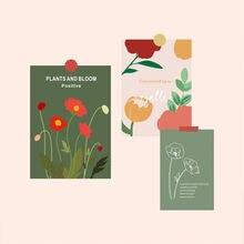 Ручная роспись растения цветы простая открытка Наклейка на стену