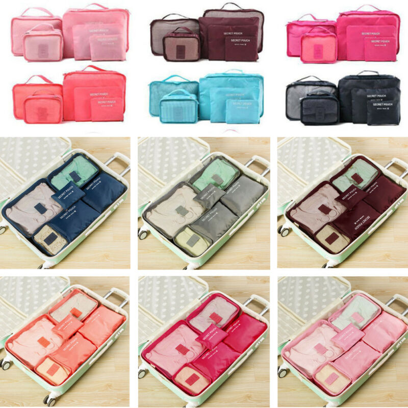6pc Travel Organizer Bag Clothes Pouch Portable Storage Case Luggage Suitcase