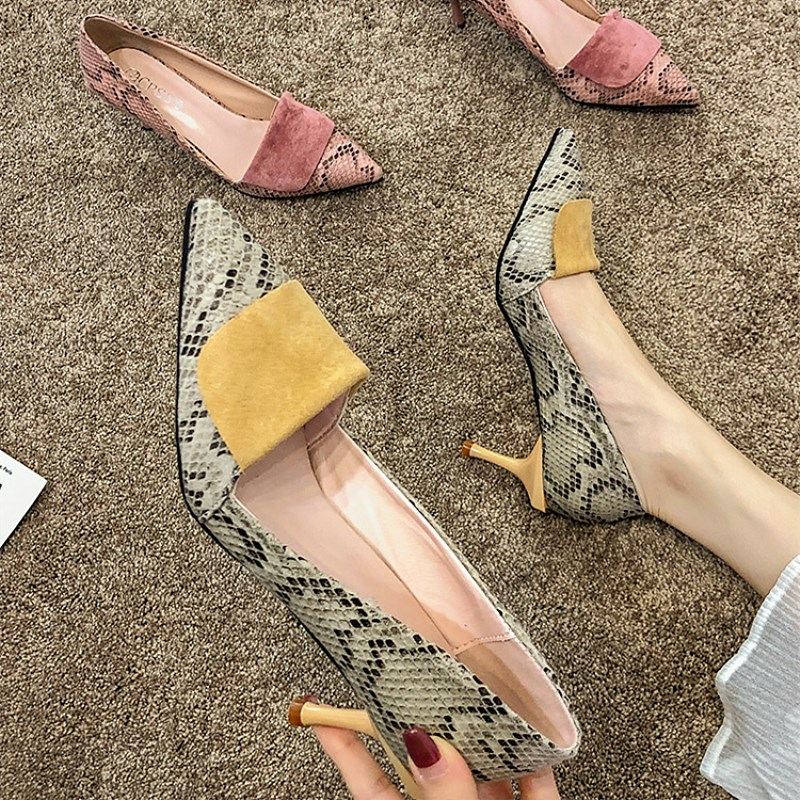 SLHJC Women Pumps Fashion Serpentine Leather Stiletto Heels Shoes Pointy Toe Slip On Elegance Lady Party Daily Casual Shoes