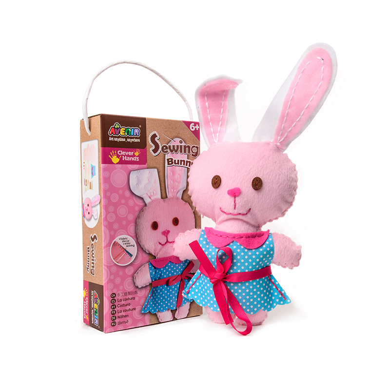 Pink Bunny Kid Threading Sewing Handmade Assembly Cartoon DIY Toys Doll Cloth DIY Handmade Educational Toys Girls Birthday Gifts