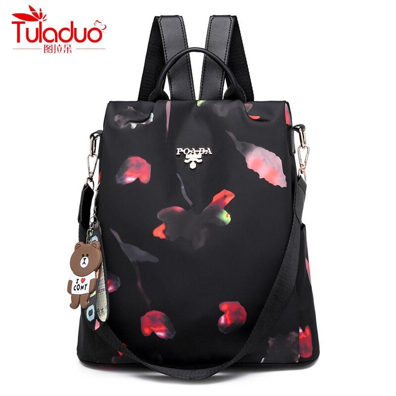 Fashion Bear Keychain Large Capacity Backpack Fashion Anti-theft Women Backpacks High Quality Waterproof Oxford Women Backpack