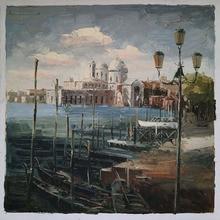 Venice the boat port Art Impression landscape decorative painting Art  Handpaint