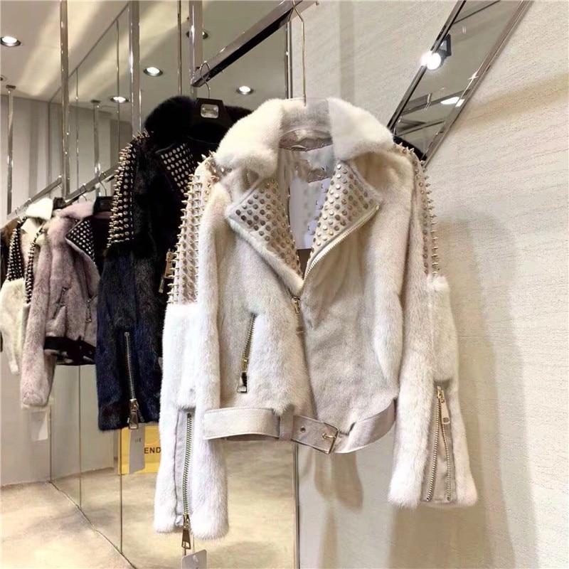 Winter Women Coat Mink Faux Fur Loose Outerwear Fashion 2019 Thicken Warm White Jacket Fur Rivet Rock Zipper Coat Women Clothing