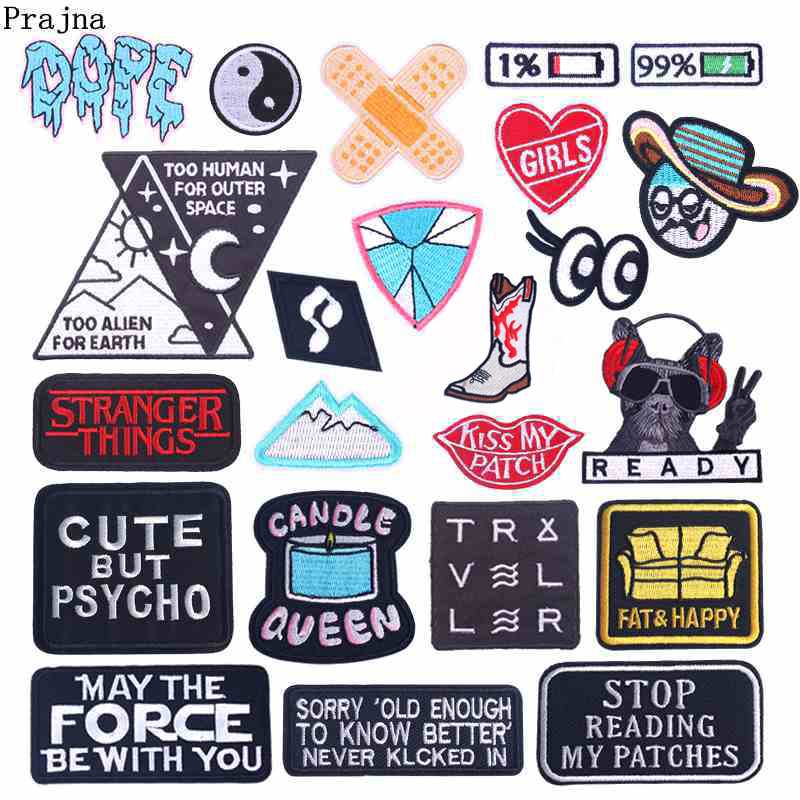 US $0.53 34% OFF|Prajna Cartoon Patches Embroidered Patches For Clothing Iron On Patches On Clothes Stripes Punk Style Badges Applique DIY Patch-in Patches from Home & Garden on AliExpress