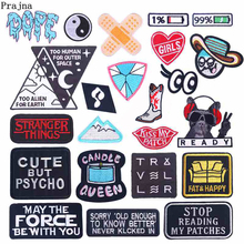 Prajna Cartoon Patches Embroidered For Clothing Iron On Clothes Stripes Punk Style Badges Applique DIY Patch