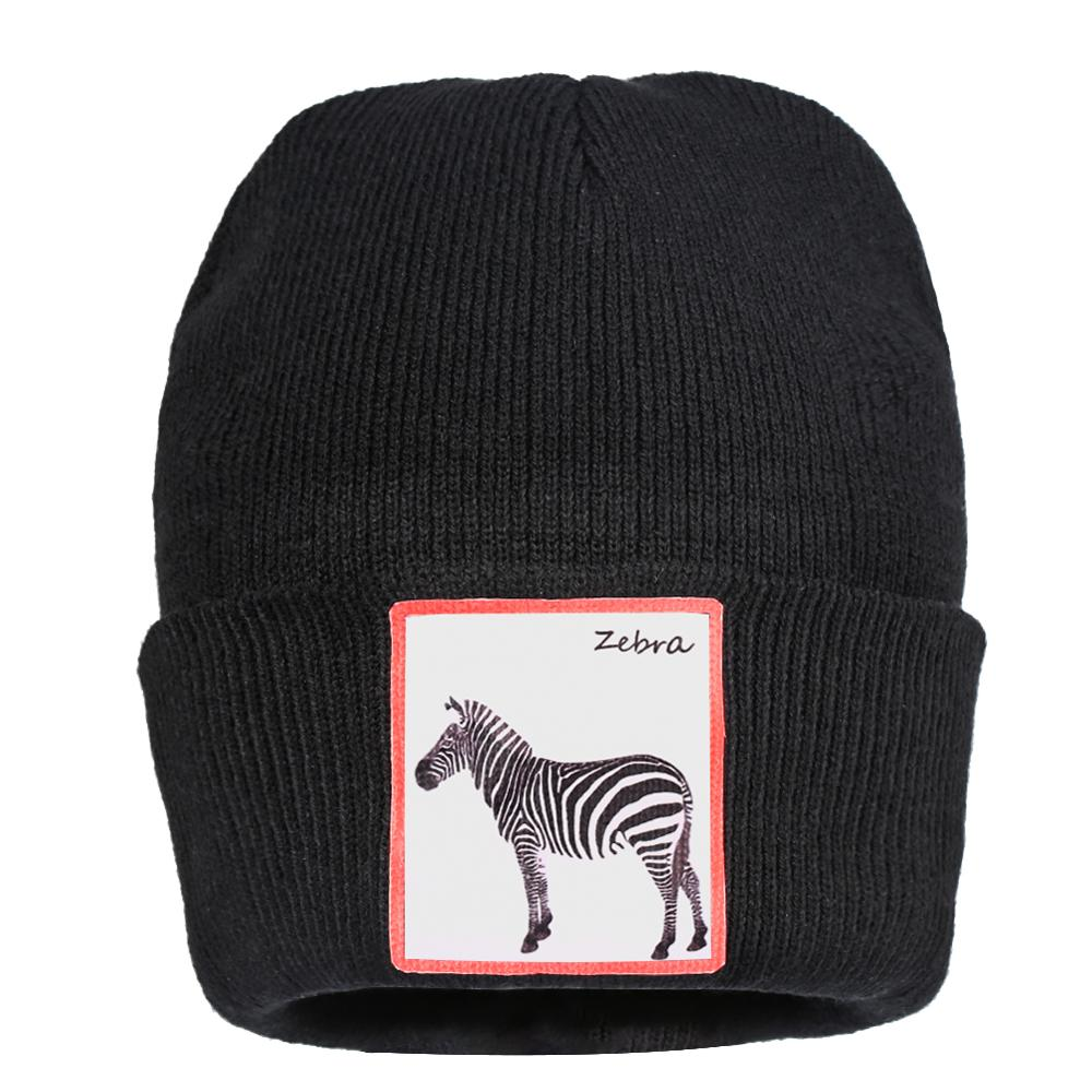 Womens Beanie Short Winter Hat Men Skullies Bonnet Knitted Cuffed Brimless Zebra Thin Warm Hedging Cap Kids Black Beanies Hats