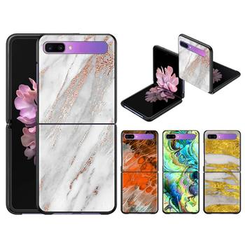 Case Cover for Samsung Galaxy Z Flip Black Hard Capa Phone Fall ShellWhite Marble And Roses