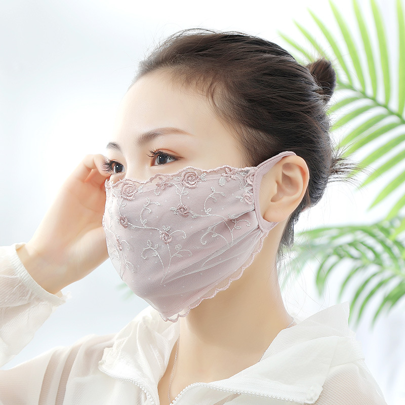 Korean Sweet Lace Embroidery Floral Sunscreen Masks For Women Lace Washable Breathable Mouth Muffle Girls Face Mouth Masks 2020