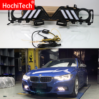 For BMW F30 F35 3 Series 2013 2019 Daytime running lights LED DRL Fog lamp driving lights with Yellow Turn Signal Function Relay