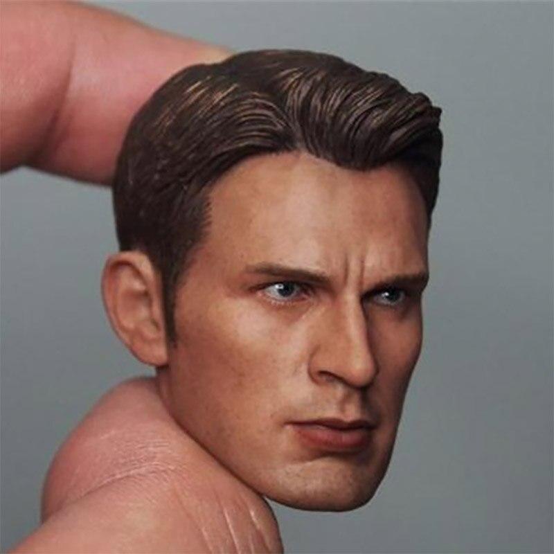 1/6 escala Capitán América Chris Evans cabeza esculpir hombre estrella modelo de talla de cabeza para 12 muñeca coleccionable Juguetes Accesorios