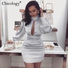 Chicology נשים הולו מתוך מיני שמלת פנס ארוך שרוול bodycon 2019 סתיו החורף סקסי אלגנטי המפלגה מועדון מקרית בגדים