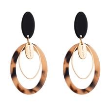 Charm Za Brand Leopard Acrylic Statement Dangle Earrings Vintage Multi Layers Geometric Oval Drop Woman Party Brincos