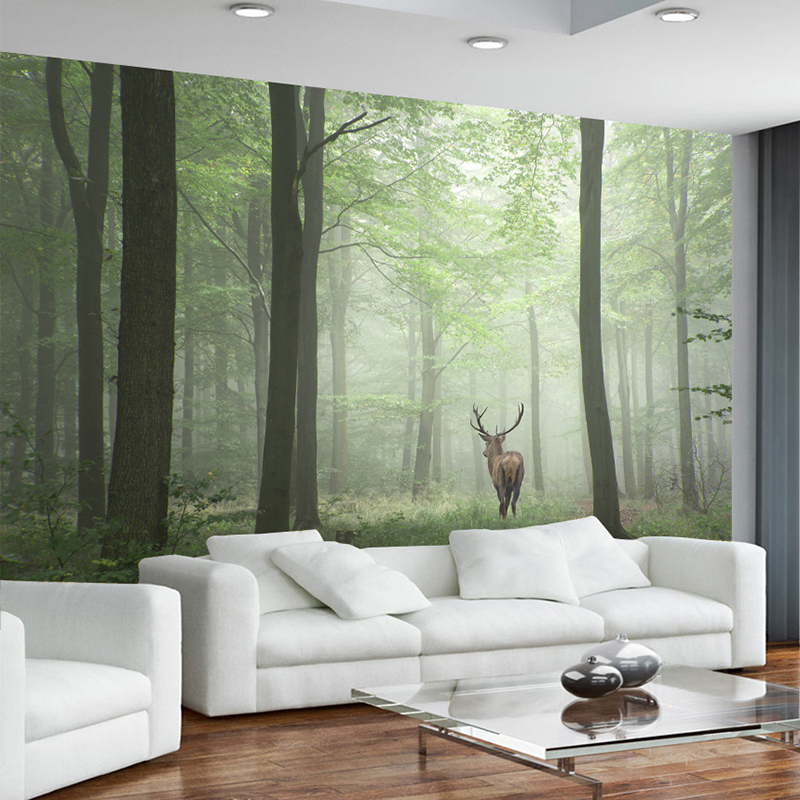 Dropship 3D Mural Wallpaper Modern Forest Tree Fog Elk Background Wall Painting TV Sofa Study Home Decor Vintage Wall Papers