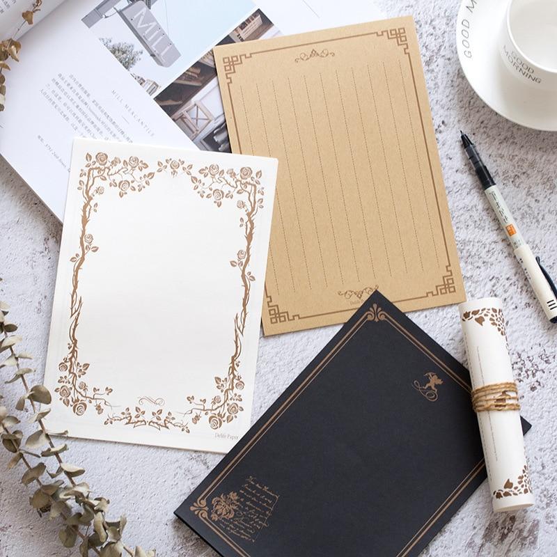 Kraft Black Letter Paper 16sheets Vintage Flower Design Letterhead Letter Writing Paper Letter Pad Drawing Sketch Pad Stationery
