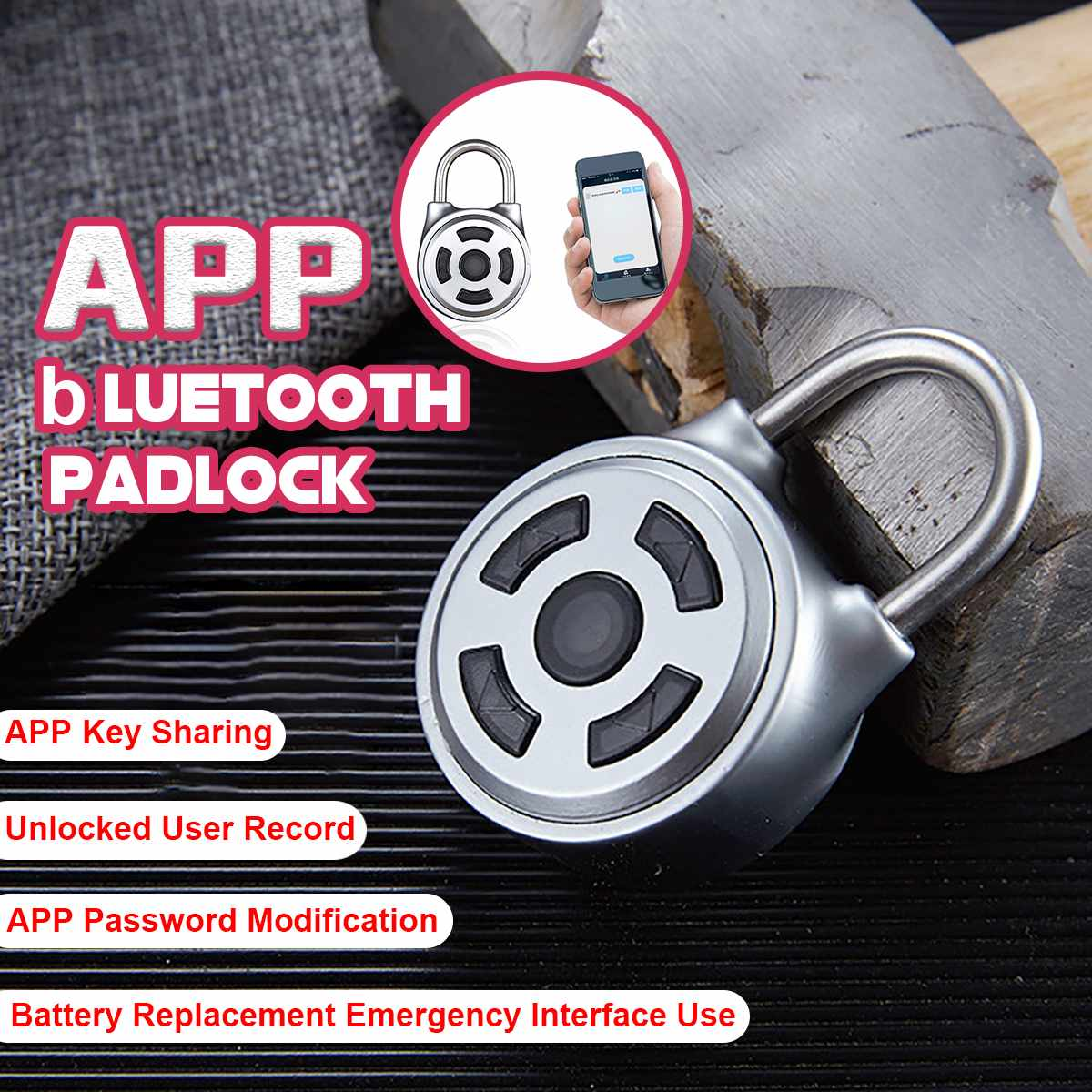 Mini Wireless Keyless Bluetooth Padlock Phone APP/ Button Control Lock Home Portable Anti-Theft Lock For Luggage Backpack