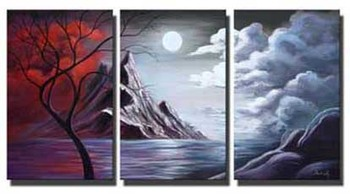 Hand-painted 3 Pieces Abstract Landscape Painting Modern Canvas Panel Wall Art Sunrise Decoration for Home Living Room Bedroom