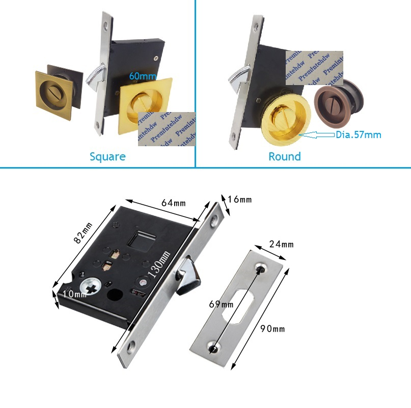 Keyless Bed Bathroom Door Mortise Lock Flush Recessed Finger Pull Thumbturn Square Round Pocket Sliding Door Hooking Bolt