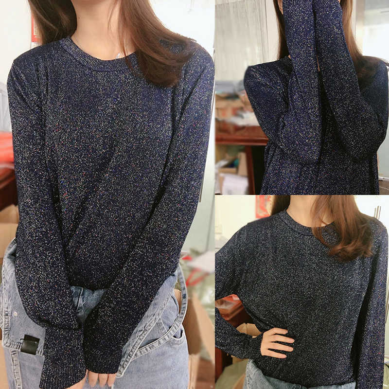 SINGRAIN Shiny Lurex trui vrouwen gebreide truien glitter trui lange mouw tricot herfst plus size Koreaanse stijl truien