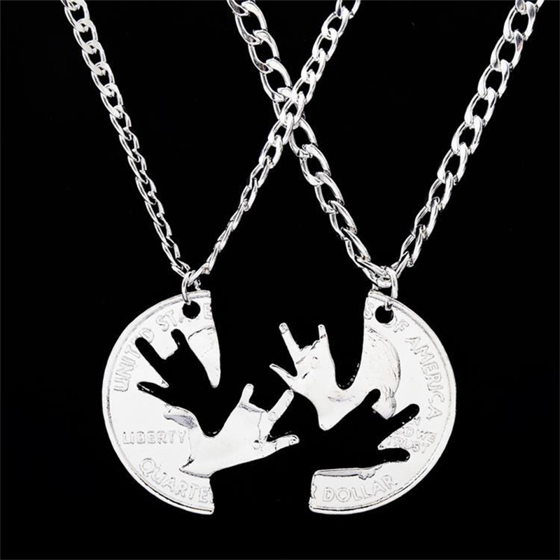 2pcs/set Silver Color Animals Frog Pendants Necklaces For Men Women Fashion Best Friends Partner Choker Couples Jewelry Gift