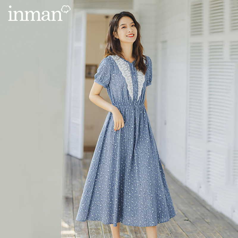 INMAN 2020 Summer New Arrival Prairie Chic Style Splicing Lace Nipped Waist Stringy Selvedge Short Sleeve Dress
