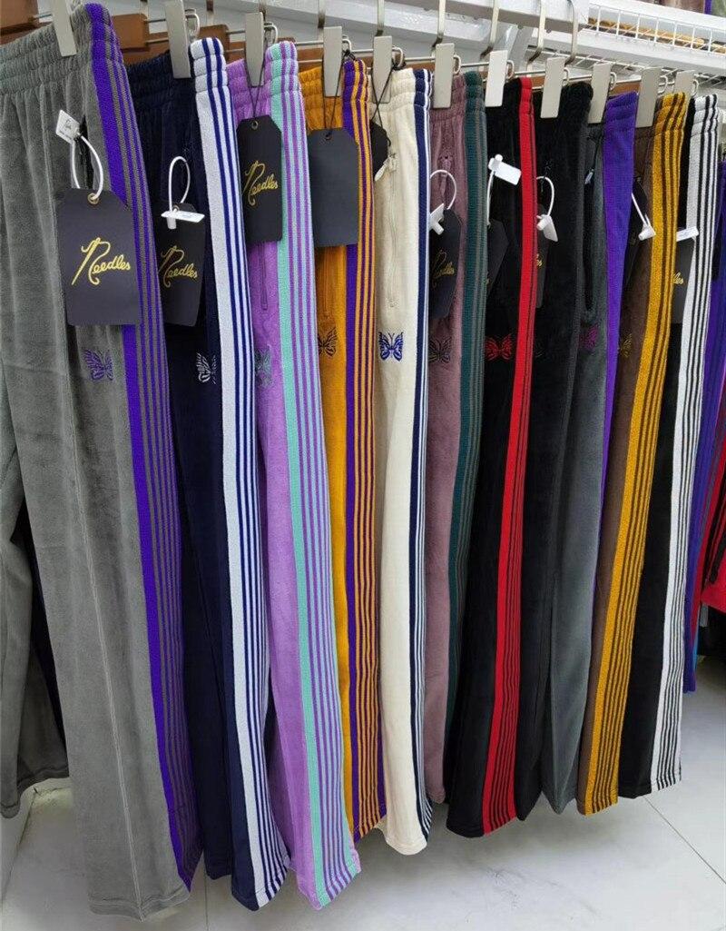 Awge agulhas calças rochosas hip hop 11 alta qualidade borboleta bordado faixa sweatpants japão agulhas