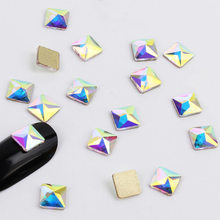 20Pcs/Pack Nail Art Rhinestones Flat Shaped Elongated Teardrop Rectangle Glass Flame Colorful Stones For 3D Nails Decoration(China)