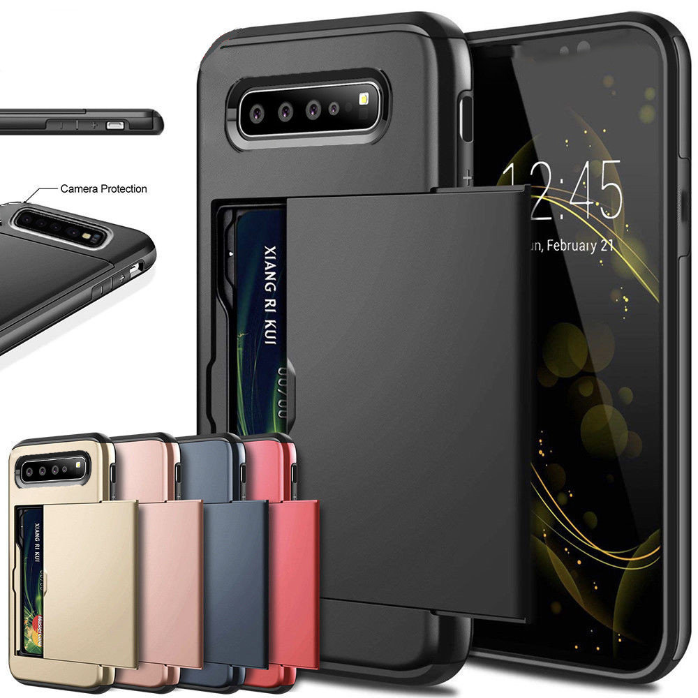 <font><b>Shockproof</b></font> <font><b>Case</b></font> For <font><b>Samsung</b></font> Galaxy S10 5G S10 E <font><b>S9</b></font> S8 Plus S6 S7 Edge Note 8 9 10 Slide Armor Wallet Card Slots Holder Cover image
