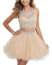 A Line Short Two Pieces Beading Crystals Sequines Scoop Neck Sleeveless  Prom Dresses Formal