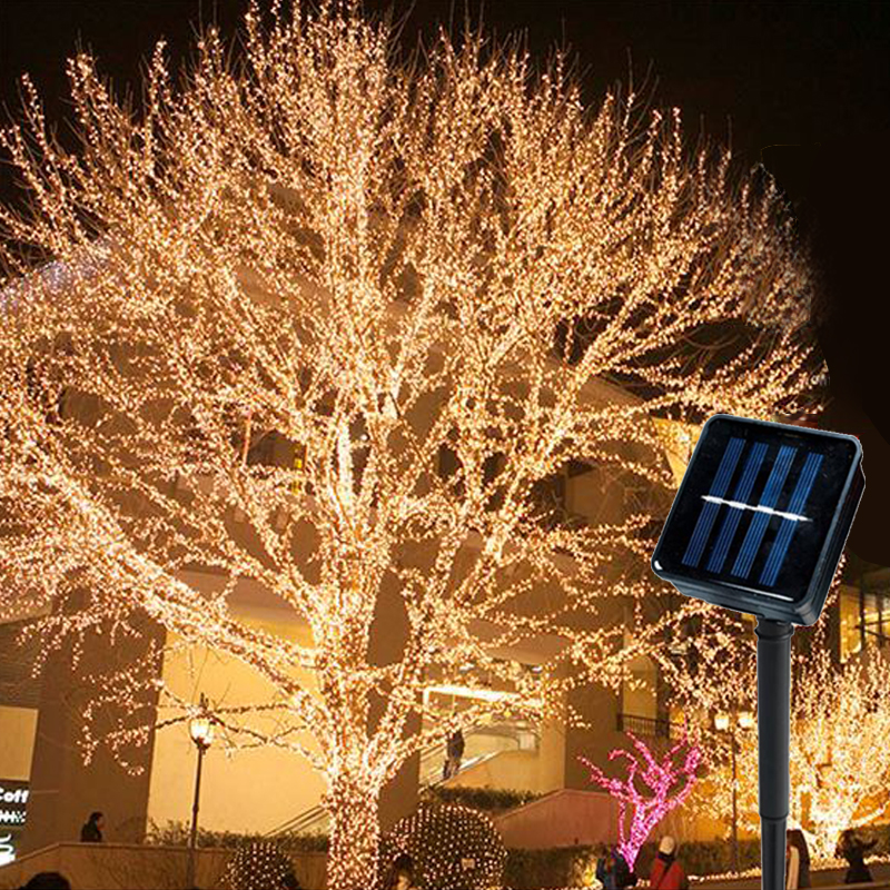 Outdoor LED Solar Light Vines Branch 100/200 LED String Fairy Light Outdoor Garden Fence Tree LED String Fairy Branch Solar Lamp