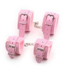 BDSM Bondage Adjustable PU Leather Plush Pink Handcuffs Footcuffs Ankle Cuffs Sl