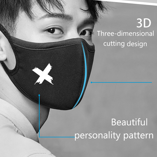 Washable Reuseable Black Kpop Mouth Mask Anime Cartoon Pattern Face Masks Cotton Fabric Masks For Adult 4