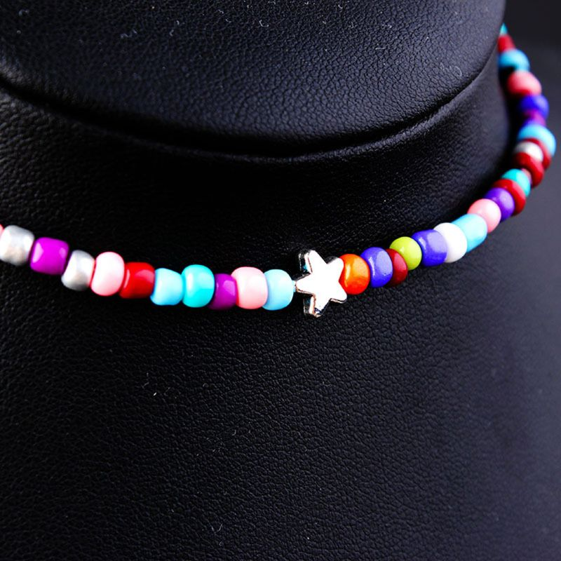 Bohemian Handmade Rainbow Beaded Chain Choker Necklace Female Fashion Jewelry in Choker Necklaces from Jewelry Accessories