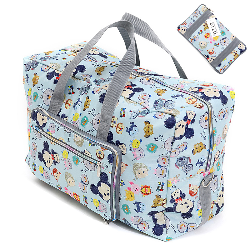 Foldable Travel Bag Women Large Capacity Portable Shoulder Duffle Bag Cartoon Printing Waterproof Weekend Luggage Tote Wholesale(China)