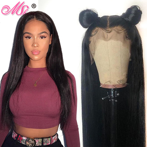 Image 1 - Mshere Straight Lace Front Human Hair Wigs 13x4 Brazilian Straight Hair Wig with Baby Hair 4x4 Lace Closure Wig Pre Plucked 150%