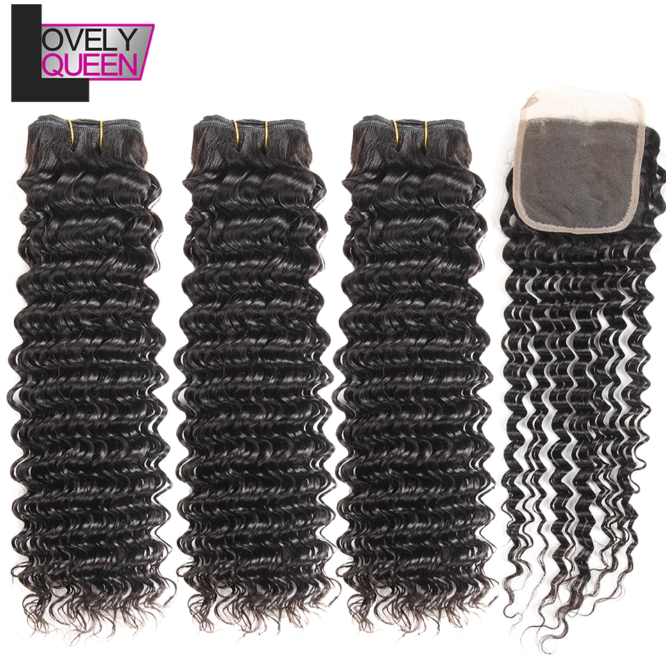 Lovely Queen Hair Human Hair Peruvian Deep Wave Bundles With Closure Non Remy Hair Real Shot Natural Black