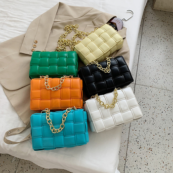 Women Crossbody Bag Weave Flap Bags For Women 2020 Quality Leather Thick Chain Shoulder Messenger Bags Female Handbag And Purse 2