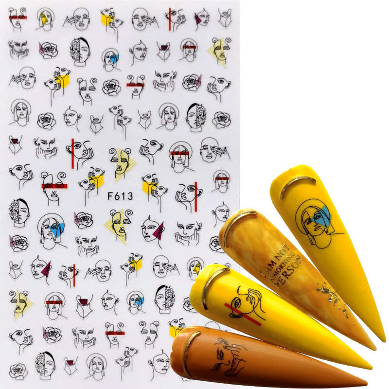 WUF  1 PC Nail Art Sticker Retro Styles Slider Watercolor Ink Ballet Dancing Women Accessoires Tips For Nail Polish