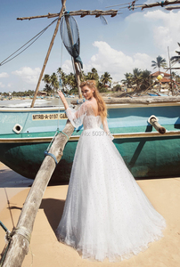 Image 2 - Pearl A Line Tulle Wedding Dresses Long Sleeves O Neck Lace Appliques Open Back Sweep Train Bridal Gown Vestidos De Noiva