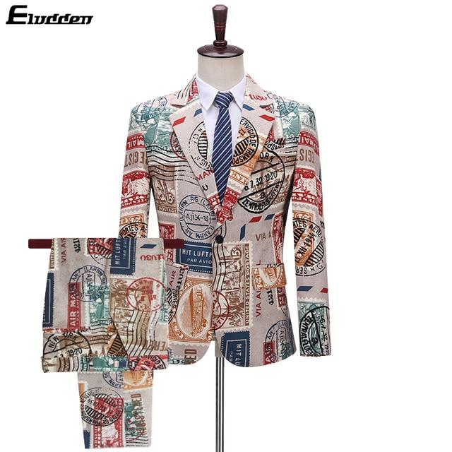 Men's Printed Suit 2 Pieces Retro Vintage Blazer For Men Red Lips Letters Pattern Hip Hop Mens Prom Suits Love New Paper Stamp Men's Fashion