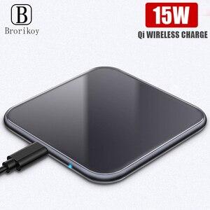 Image 1 - Ультратонкое металлическое квадратное беспроводное быстрое зарядное устройство 15 Вт для iPhone X Samsung Note 10 Huawei Mate 20 Pro Qi, быстрая Беспроводная зарядка