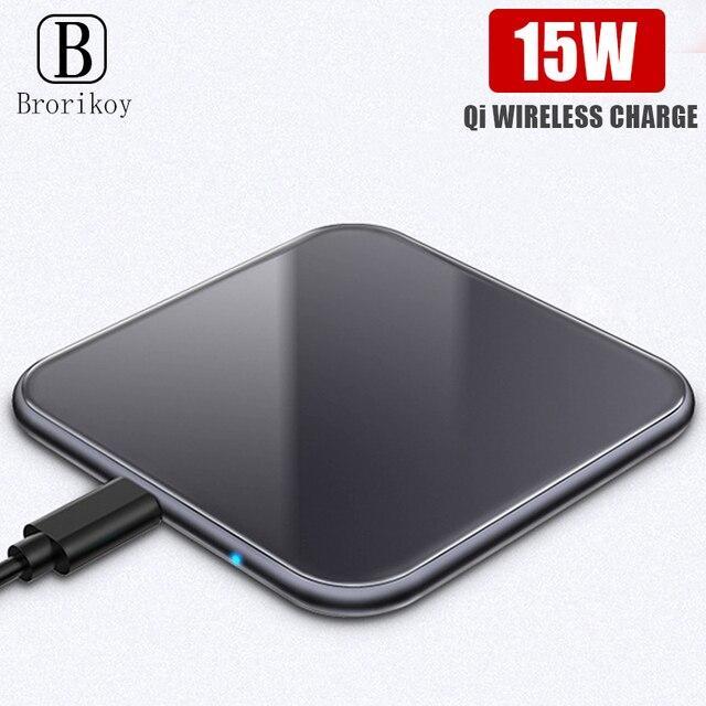 דק במיוחד מתכת כיכר 15W אלחוטי מהיר מטען עבור iPhone X סמסונג הערה 10 Huawei Mate 20 פרו צ י מהיר טעינה אלחוטי Pad