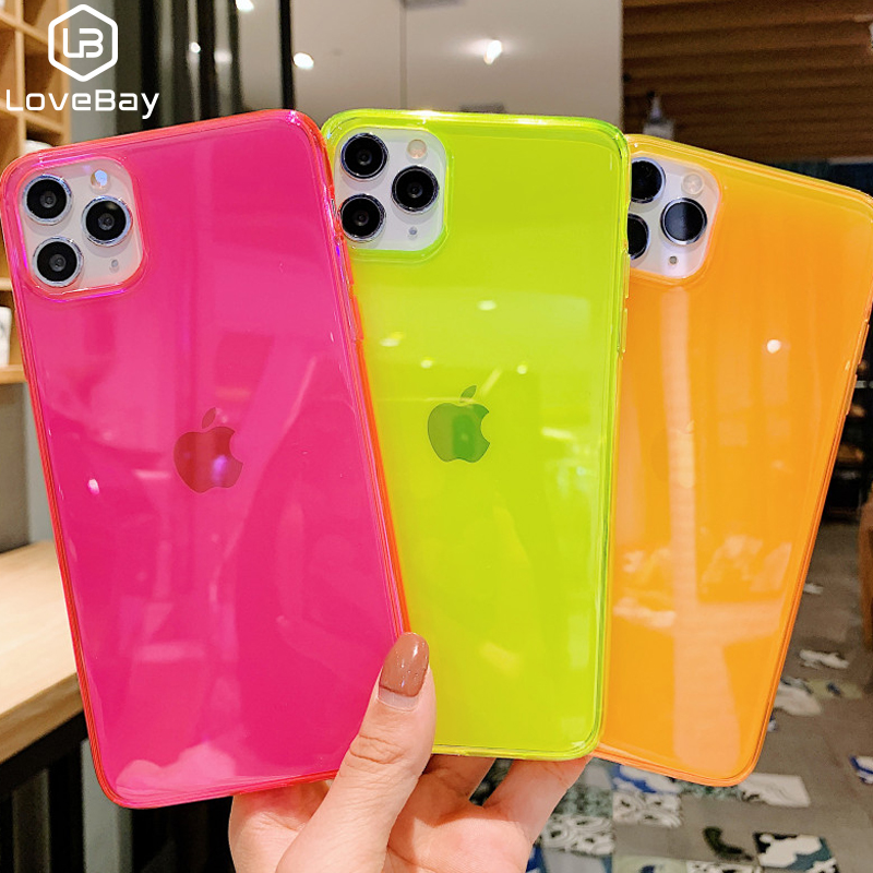 Lovebay Transparent Phone Case For IPhone 11 Pro Max XR X XS Max 7 8 6 6S Plus Soft TPU Solid Fluorescent Color Shell Back Cover