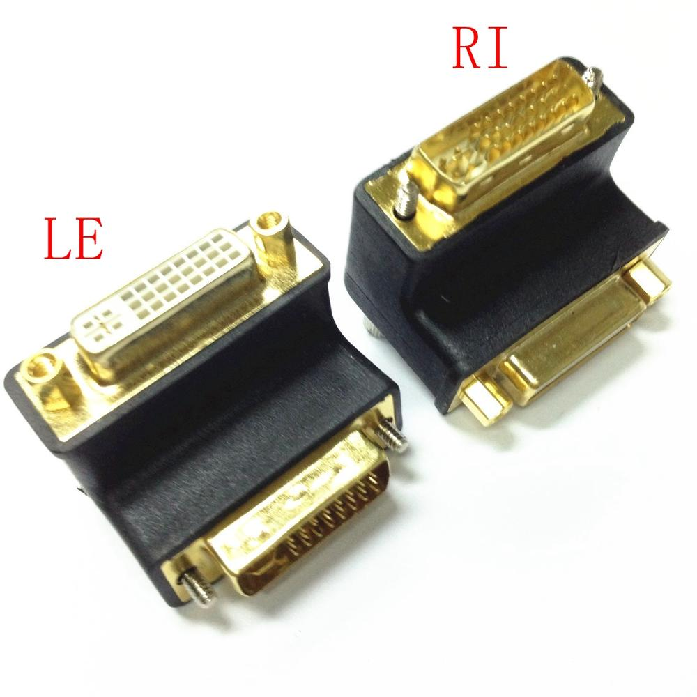 DVI 24+5  Elbow Connector, 90  Degree Right Angle DVI To DVI Male To  Female  Video Extension Adapter