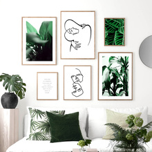Green Plant Leaf Abstract Hug Line Face Wall Art Canvas Painting Nordic Posters And Prints Wall Pictures For Living Room Decor abstract girl line drawing plant leaf wall art canvas painting nordic posters and prints wall pictures for living room decor