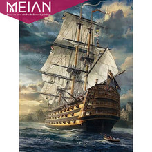 MEIAN Ship On Sea 5D DIY Diamond painting Cross stitch Full Square Diamond embroidery Round Diamond mosaic home decorations(China)