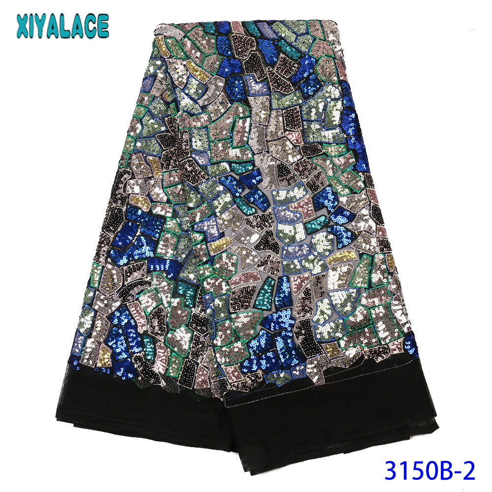 New Tulle Lace Fabric High Quality Sequins Laces Fabrics Wedding Lace Fabric With Colorful Sequence  For Dresses KS3150B