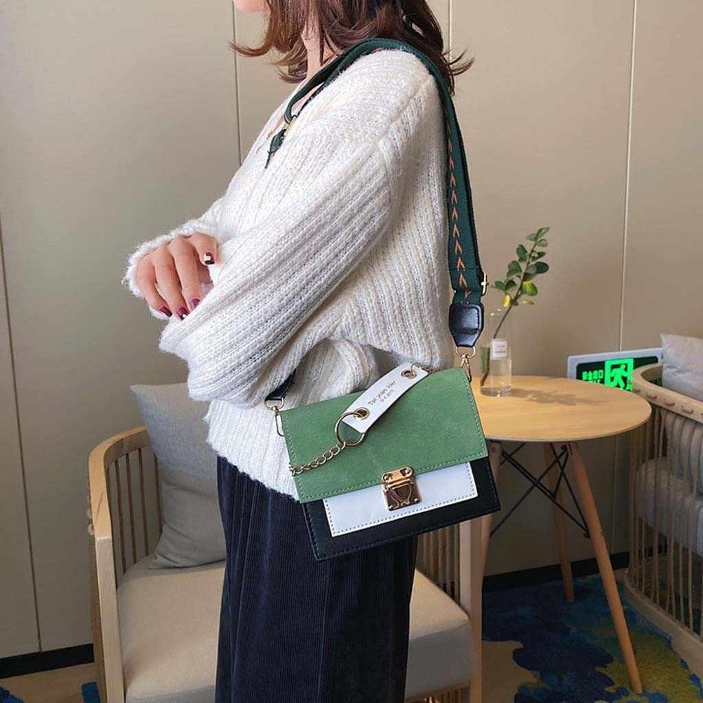 Nubuck PU หนังกระเป๋าถือผู้หญิง Contrast สีไหล่หญิง Crossbody กระเป๋าสุภาพสตรี Messenger FLAP กระเป๋าถือ Bolso