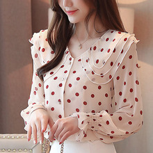Blouse women 2019 ladies tops chiffon blouse shirts for blusas femininas button dot Ruffled OL Flare Sleeve full 0304