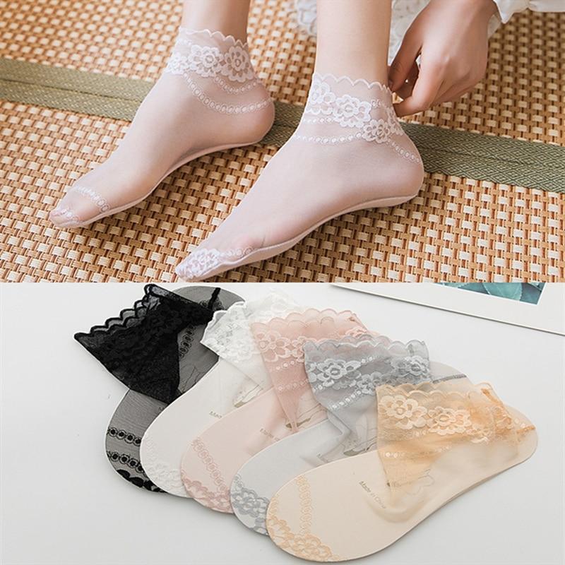 Ultra Ruffle Frilly Mesh Lace Sheer Ankle Socks Women Ladies Non Slip Nylon Black White Dress Socks Transparent Flower Socks Pop